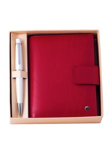 DR 3202-C2/2 Scrikss Soft Deri Kırmızı Cep Ajandası +  62 Tükenmezkalem Beyaz Set-Scrikss